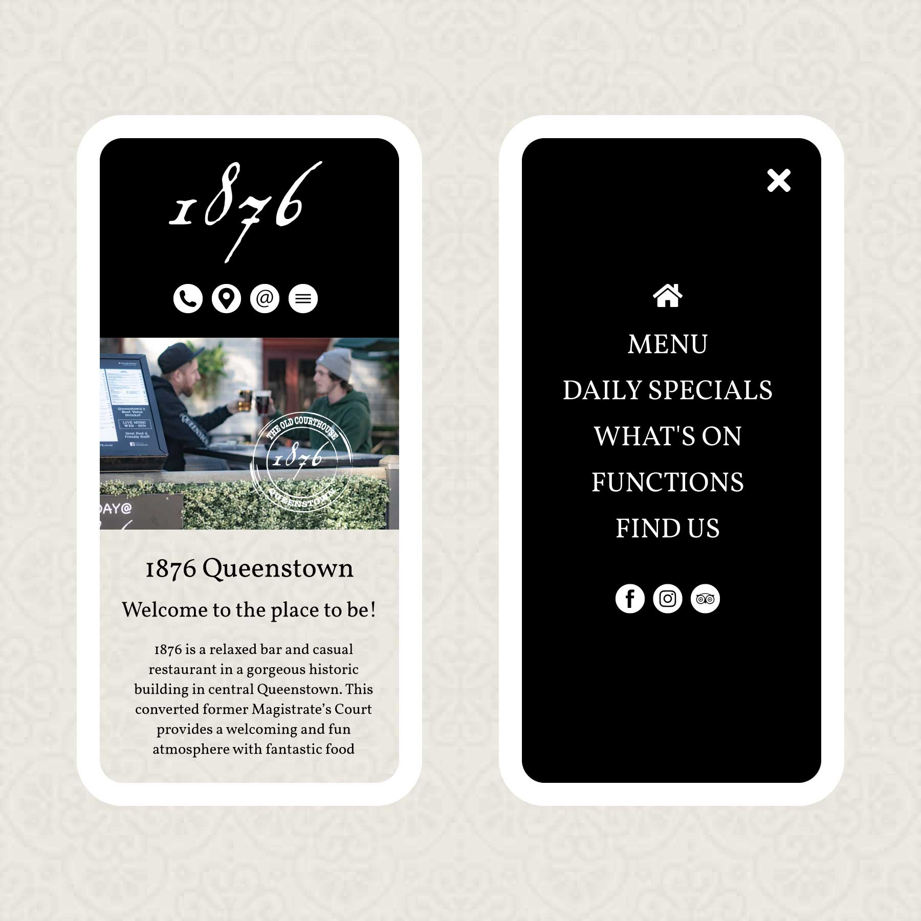 1876 Bar & Restaurant Queenstown Web Design