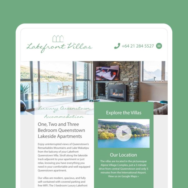 Lakefront Villas Luxury Accommodation Queenstown Web Design