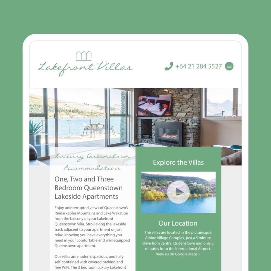 Lakefront Villas Queenstown Web Design
