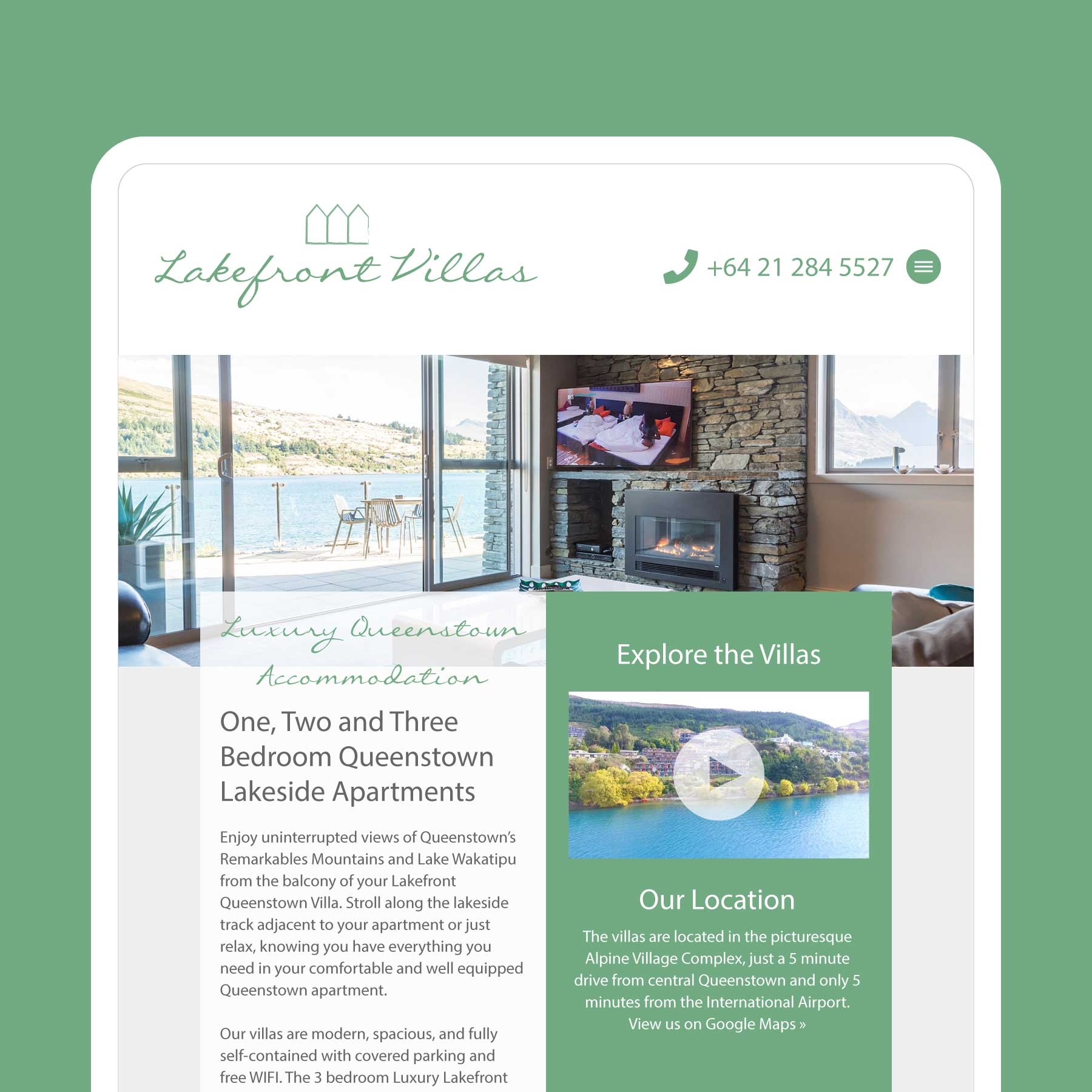 Lakefront Villas Queenstown Web Design
