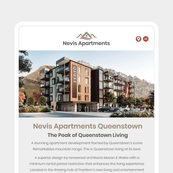 Nevis Apartments Accommodation Queenstown Web Design