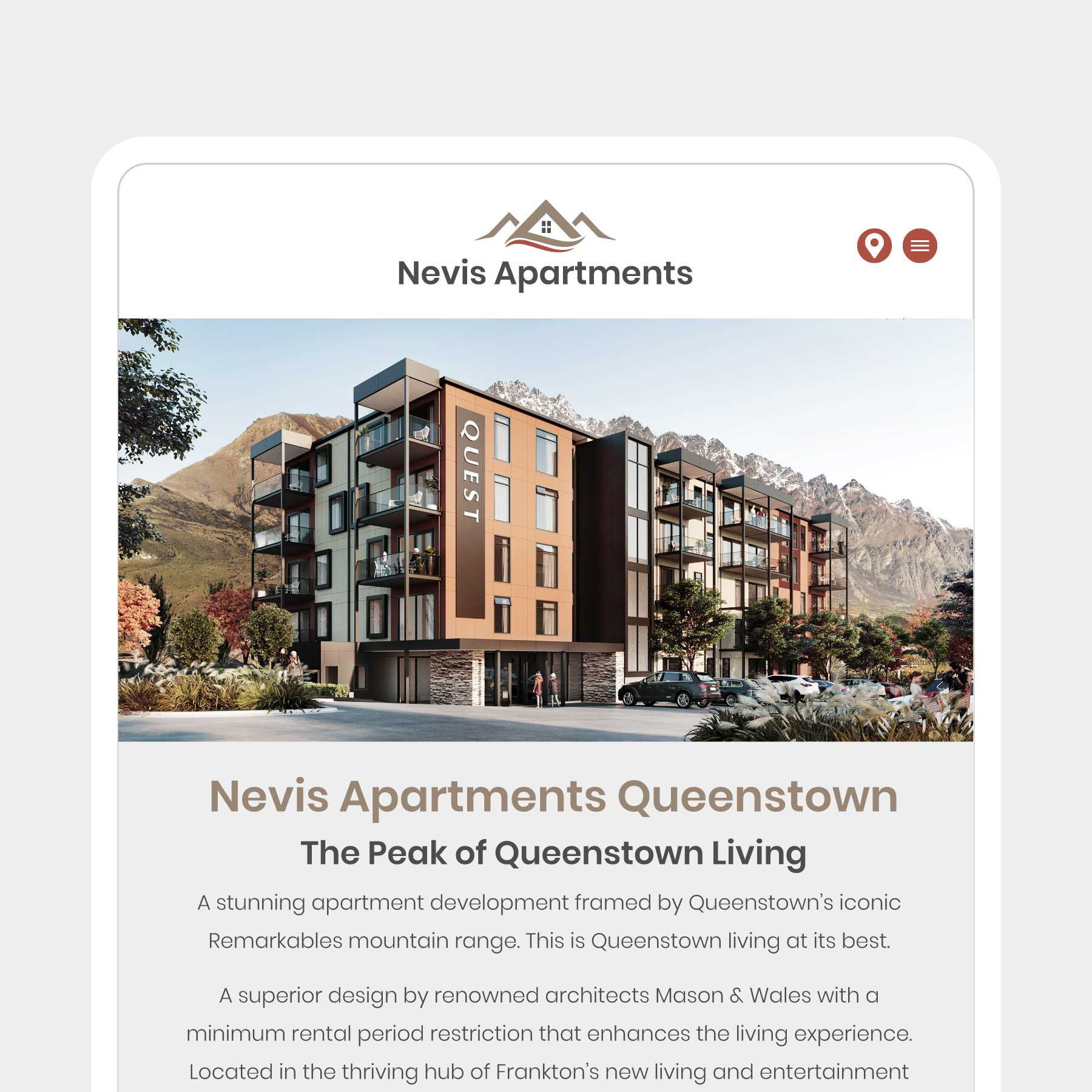 Nevis Apartments Queenstown Web Design