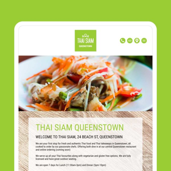 Thai Siam Thai Restaurant & Takeaway Queenstown Web Design