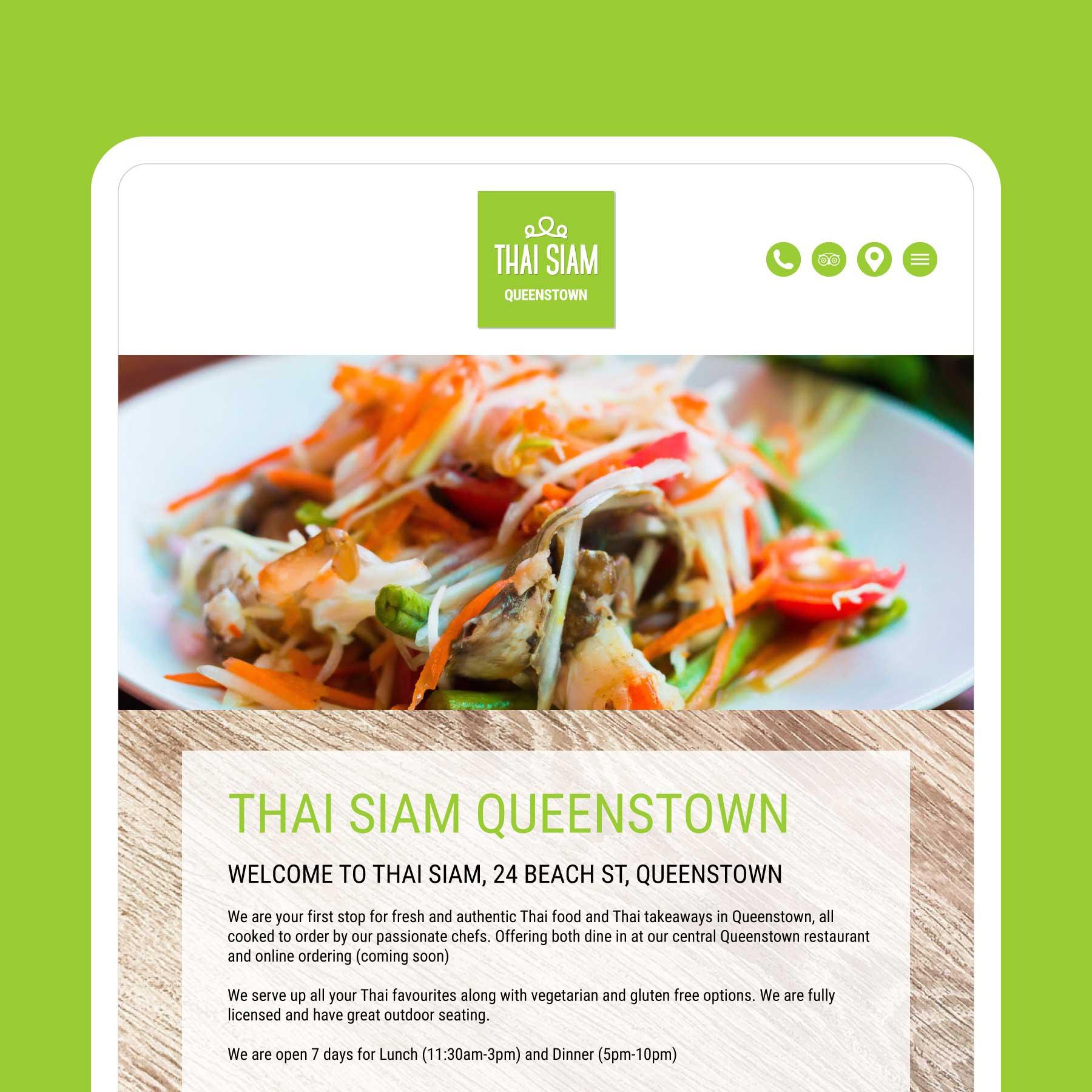 Thai Siam Thai Restaurant & Takeaway Queenstown Web Design