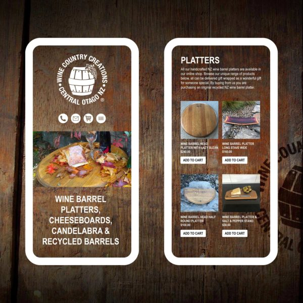 Wine Country Creations Wine Barrel Platters Queenstown Web Design